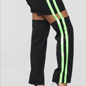 Black and Neon Green sporty pant joggers